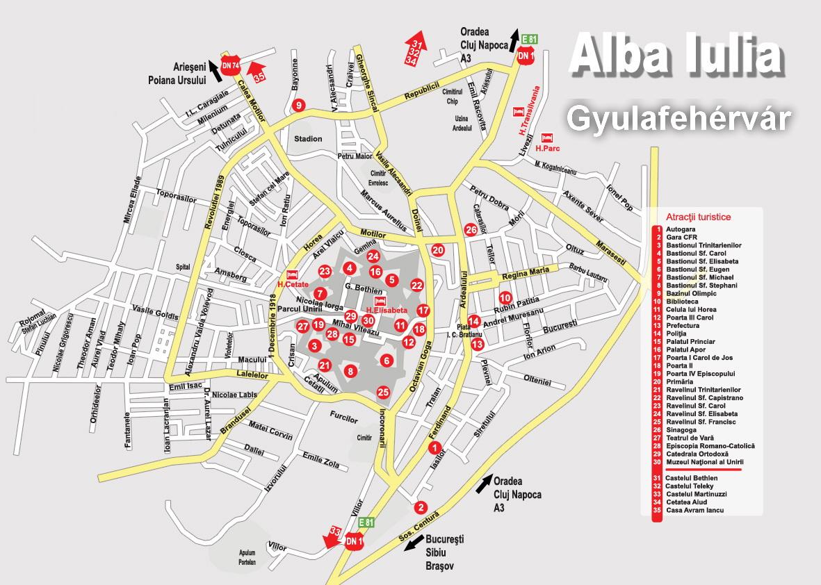 Harta turistica Alba Iulia cazare