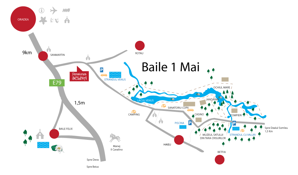 Harta turistica Baile 1 Mai cazare