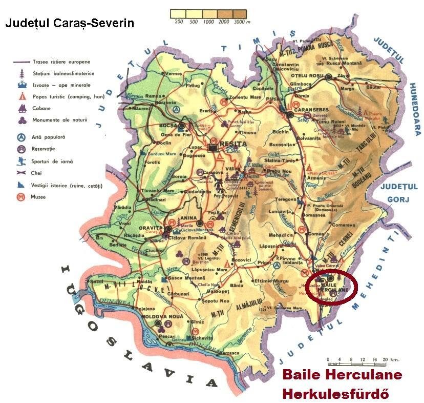 Harta turistica Baile Herculane cazare