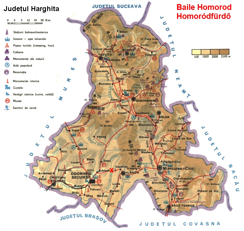 Homoródfürdő turisztikai térképe - szállás
