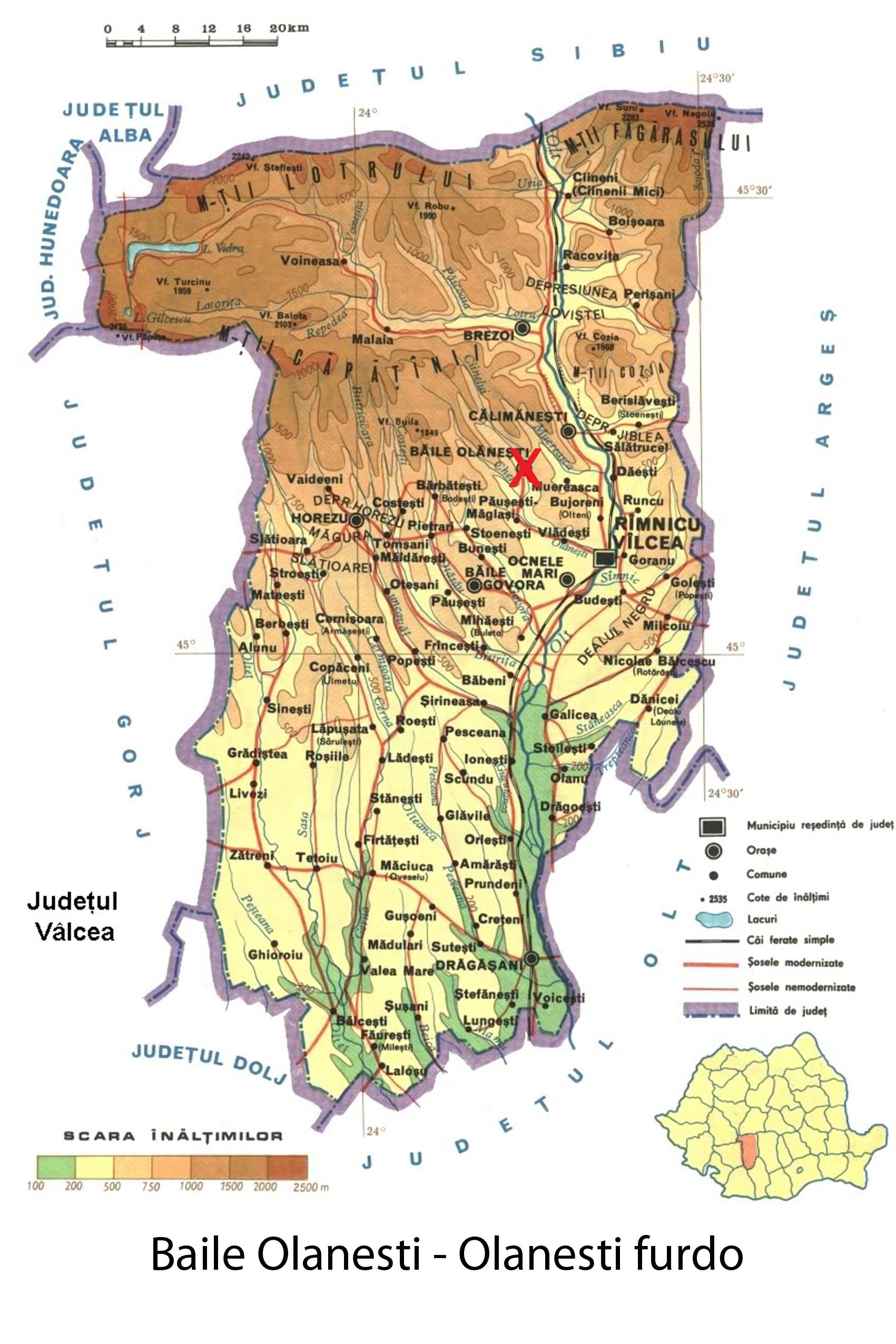 Harta turistica Baile Olanesti cazare