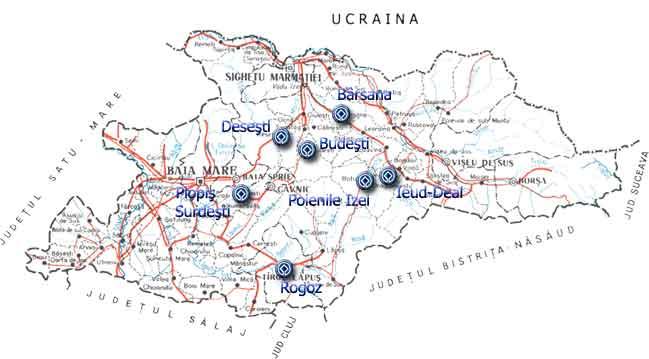 Harta turistica Biserici de lemn din Maramures cazare