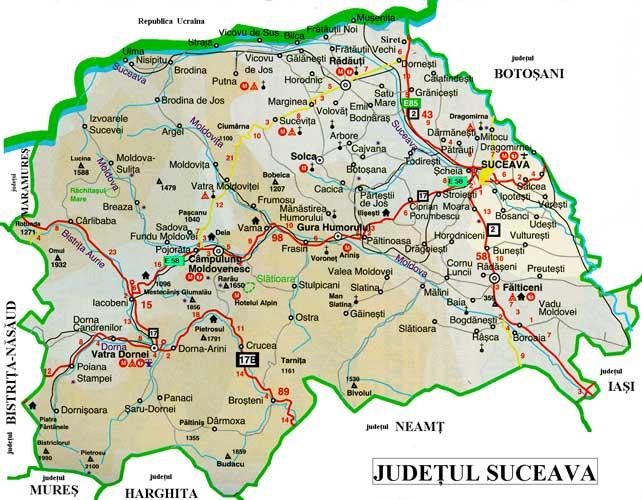 Harta turistica Biserici din Suceava cazare