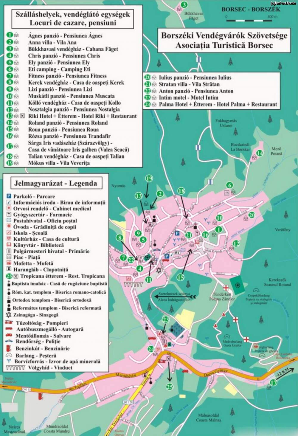 Borszék turisztikai térképe - szállás