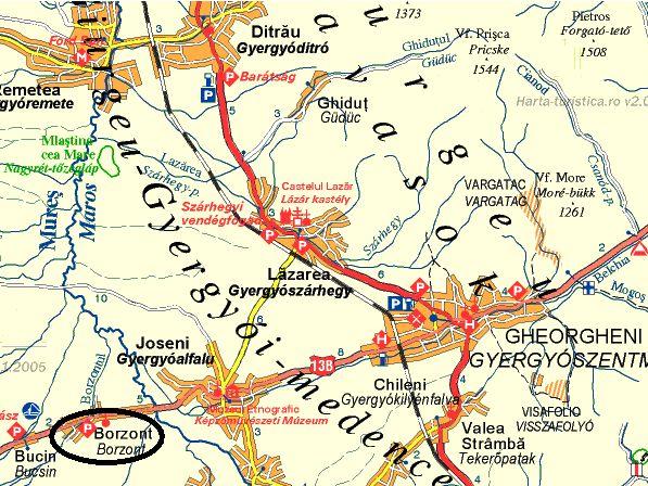 Borzont turisztikai térképe - szállás
