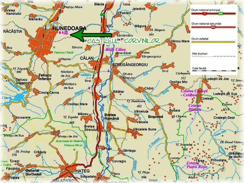 Harta turistica Castelul Hunedoarei cazare
