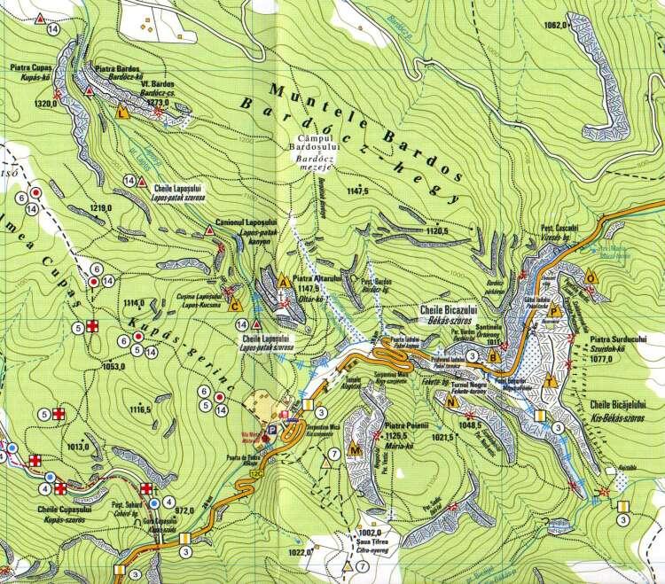Harta turistica Cheile Bicazului cazare