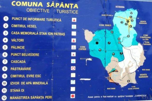 Harta turistica Cimitirul Vesel din Sapanta cazare