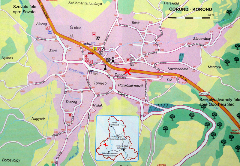 Korondi kerámia turisztikai térképe - szállás