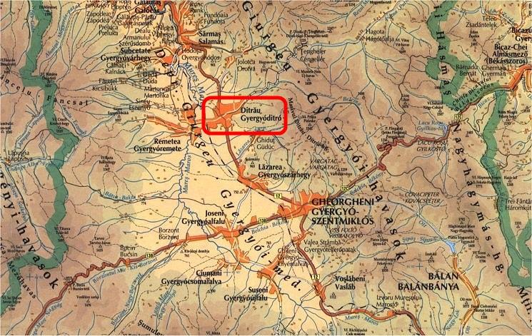 Gyergyóditró turisztikai térképe - szállás