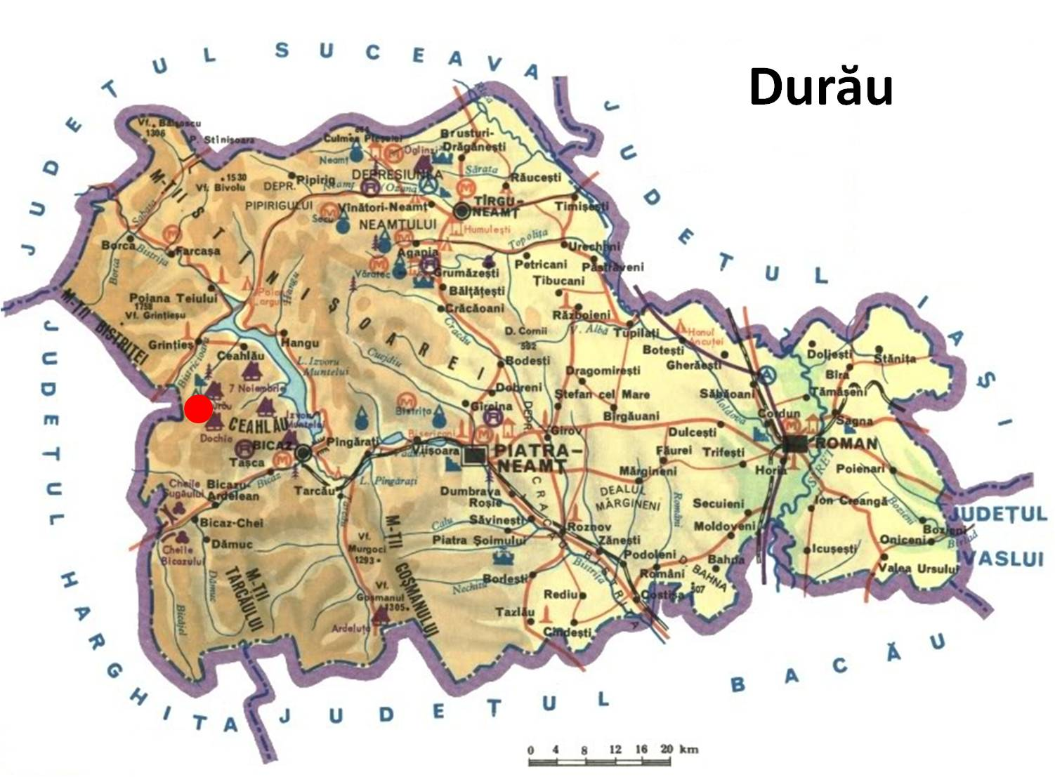 Harta turistica Durau cazare