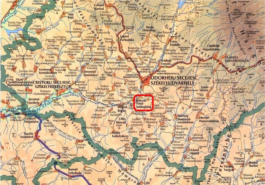 Felsőboldogfalva turisztikai térképe - szállás