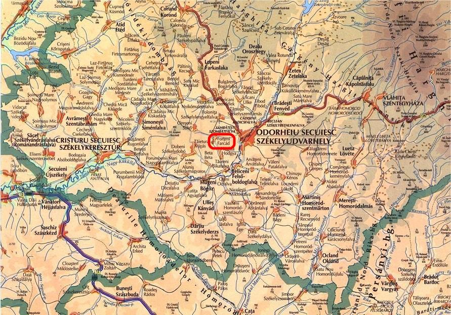 Farcád turisztikai térképe - szállás