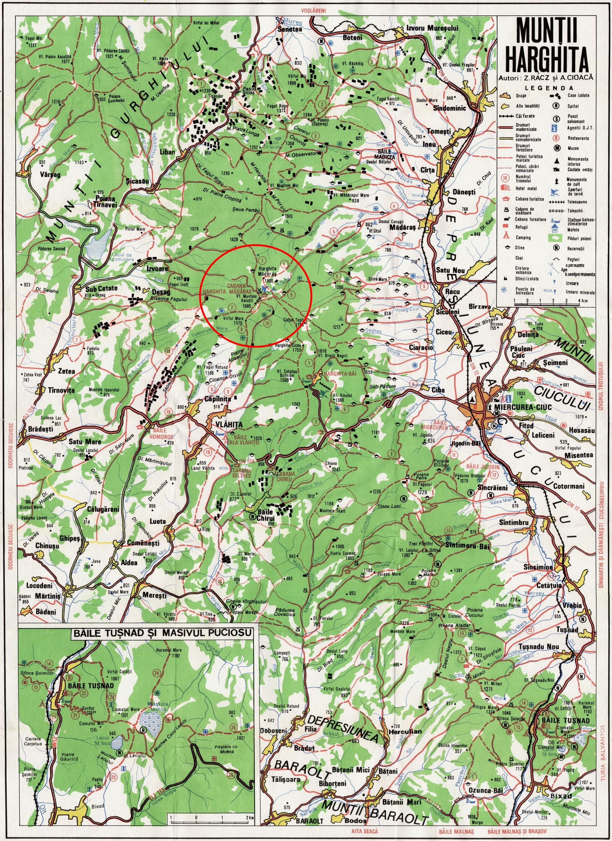 Harta turistica Harghita Madaras cazare