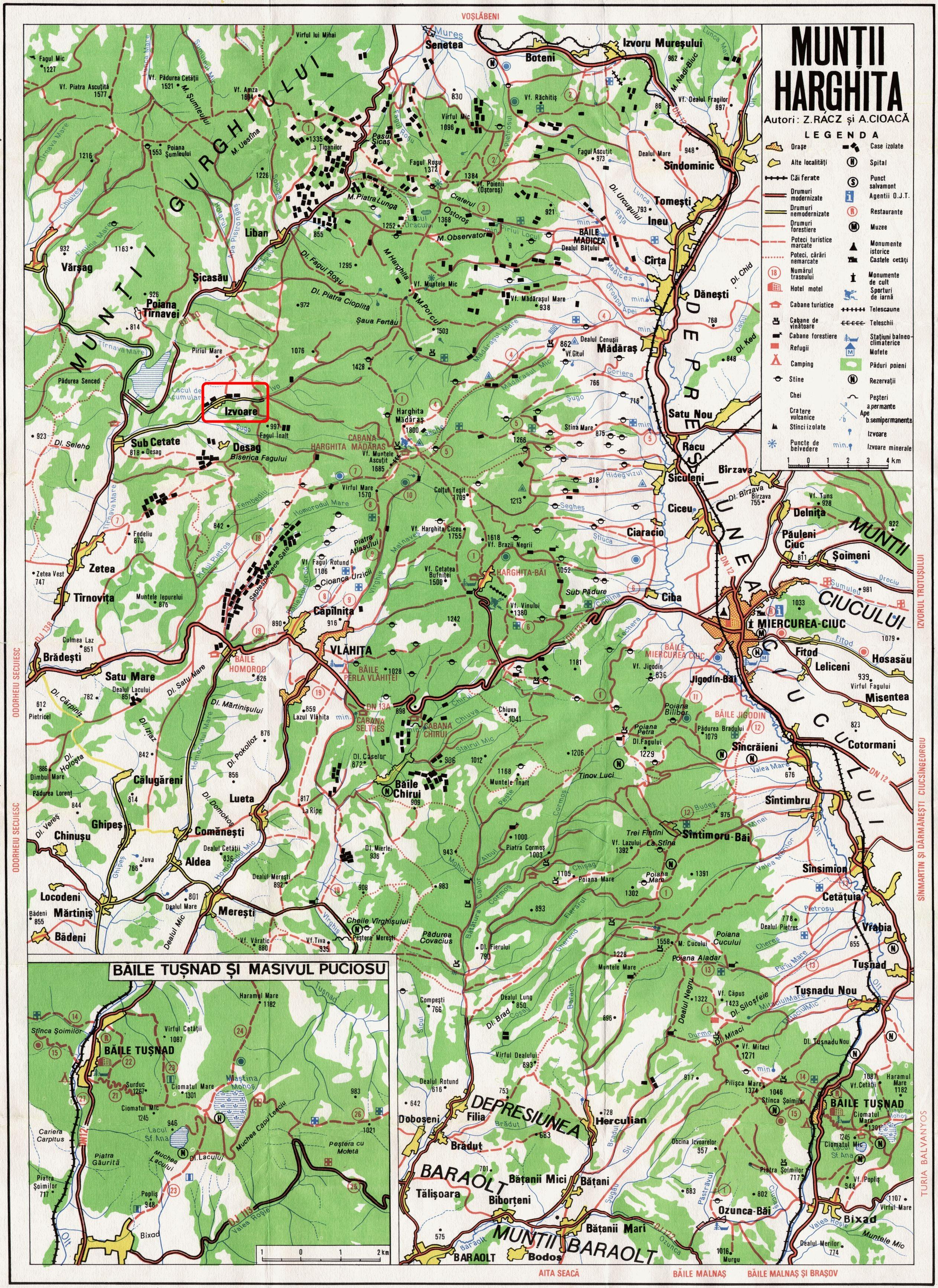 Harta turistica Izvoare cazare