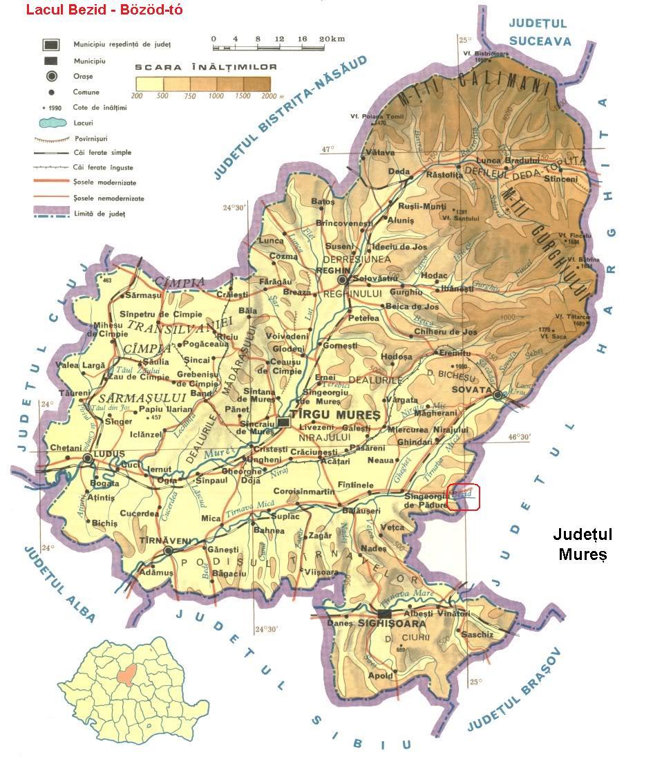 Harta turistica Lacul Bezid cazare