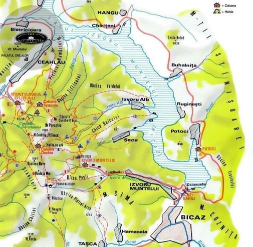Harta turistica Lacul Bicaz cazare