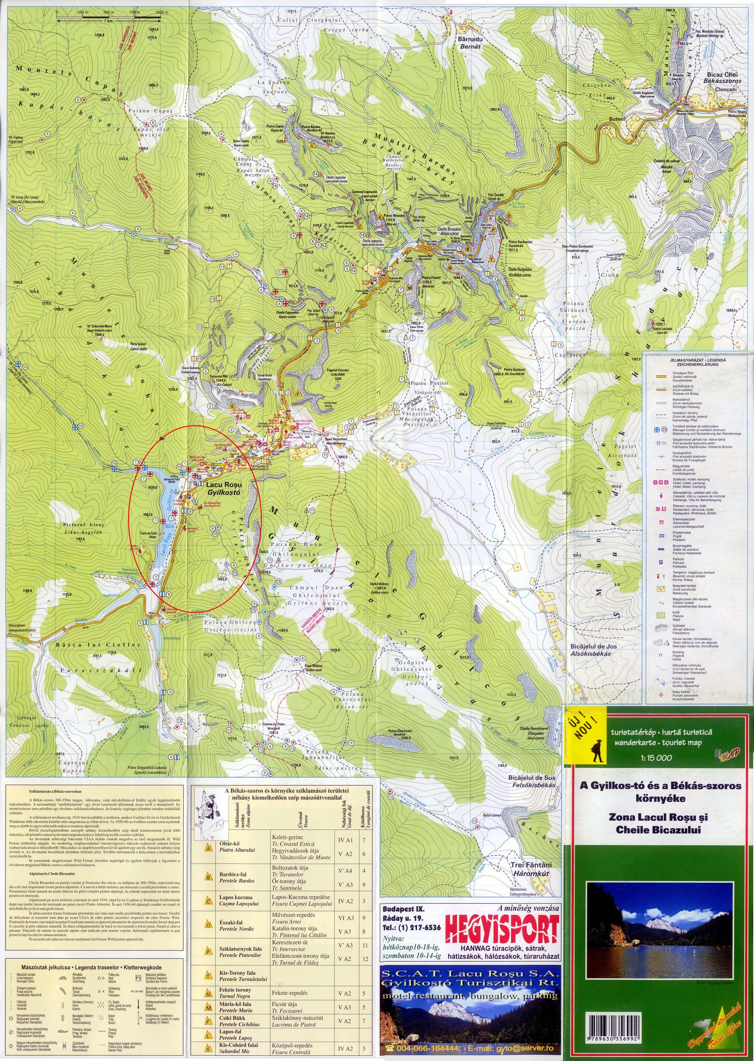 Harta turistica Lacu Rosu cazare