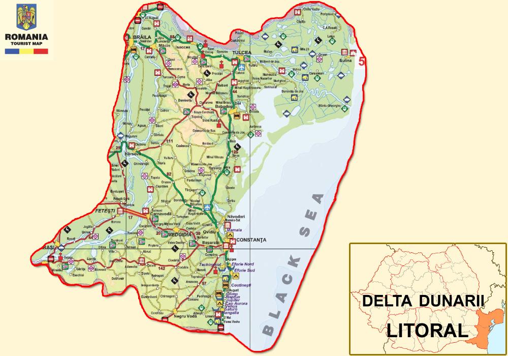 Harta turistica Litoralul Romanesc cazare
