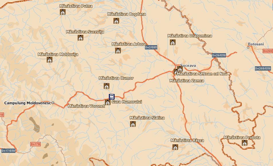Harta turistica Manastiri din Bucovina cazare