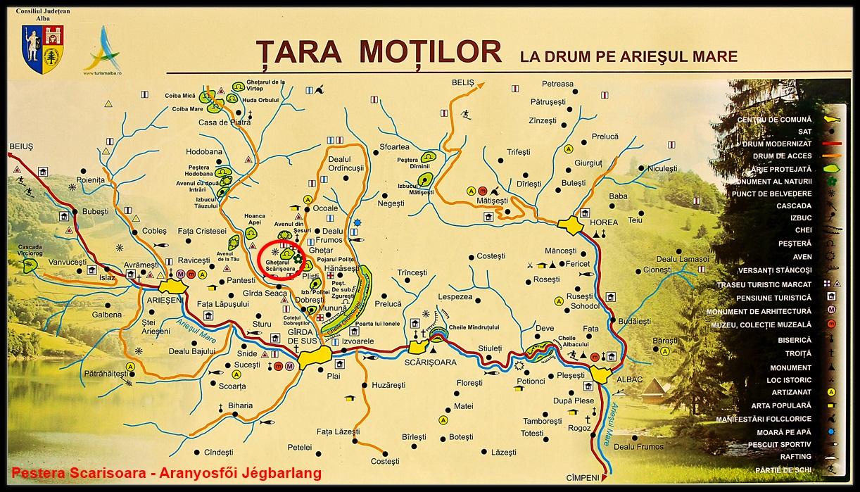 Harta turistica Pestera Scarisoara cazare
