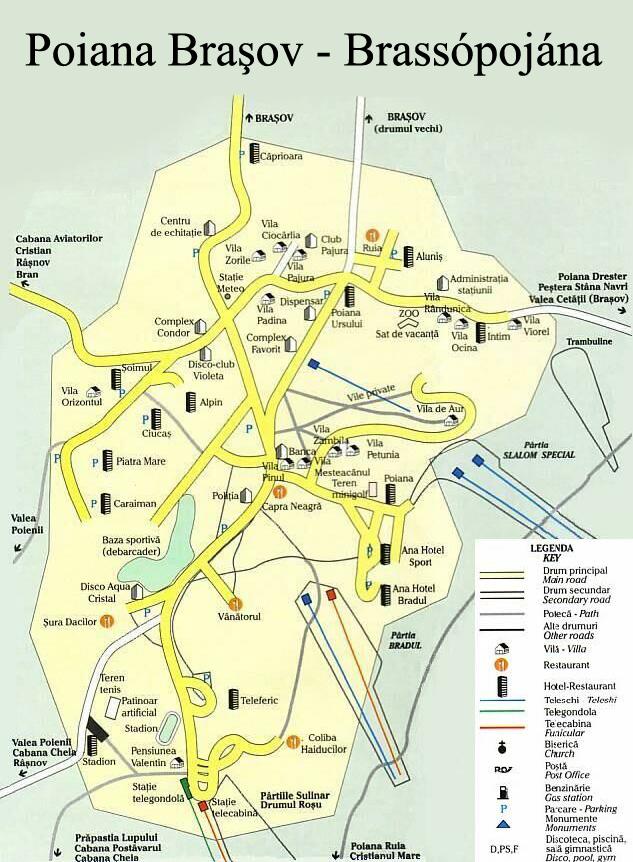 Poiana Brasov Harta Harta Turistica Poiana Brasov