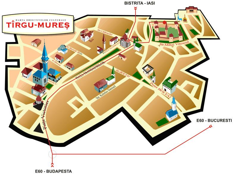 Harta turistica Targu Mures   cazare