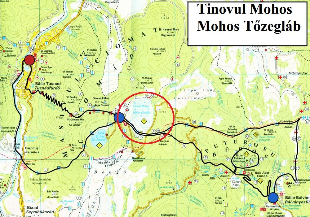 Harta turistica Tinovul Mohos cazare