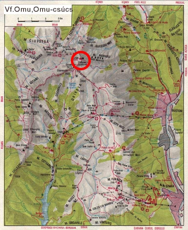 Harta turistica Varful Omu cazare