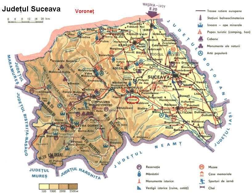 Harta turistica Voronet cazare